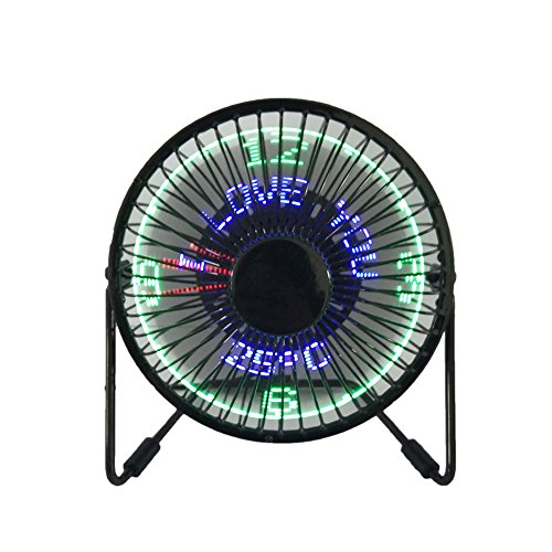 USB LED Fan JUSTUP Portable Desktop Fan With Real Time Temperature and Build in Message Personal Cooling Fan 360° Rotation Durable for Home and Office (SWX)