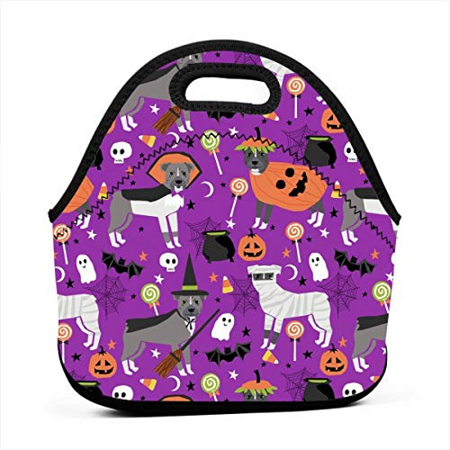 Pitbull Halloween Costume Dog Vampire Ghost Mummy Purple Lunch Bag Insulated Thermal Lunch Tote Outdoor Travel Picnic Carry Case Lunchbox Handbags with -