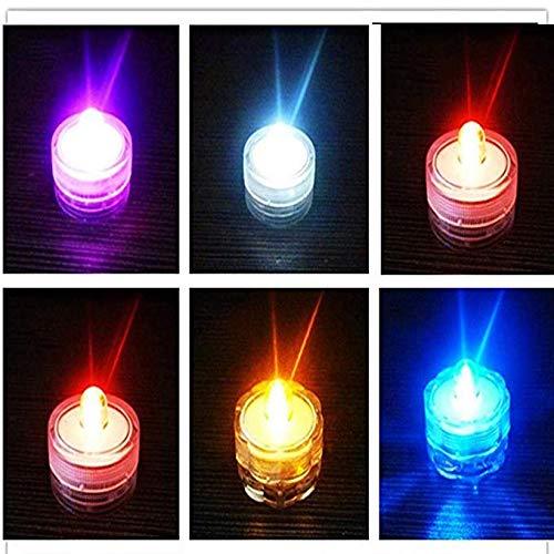 12Pcs/Set Waterproof LED Candle Light Submersible Lamp Wedding Party Aquarium Decor Flameless Candles (Yellow)