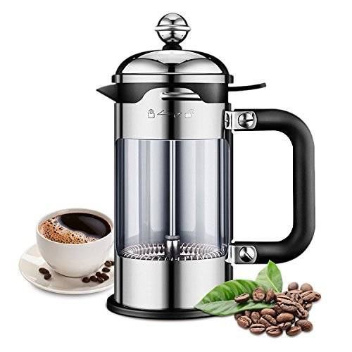 ELE KING French Press Coffee & Tea Maker 4 Level Filtered European Style 304 Grade Stainless Steel, Best Pot with Double German Glass(51 Oz)
