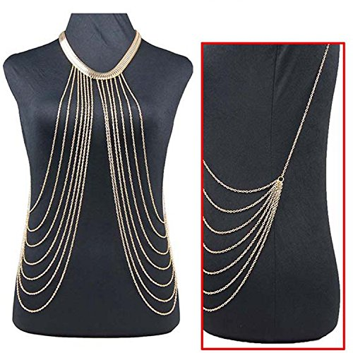 JoJo & Lin Gold Tone Body Chain Adjustable Harness with Fine Chain Multirow Necklace by JoJo & Lin (Image #4)