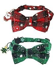 HACRAHO Pet Bowtie kraag, 2 stuks verstelbare kerst hond strik kraag met veiligheidsgesp zachte hond kat sneeuwvlok kraag met bel en schattige hanger voor kleine dieren katten kitten rood en groen