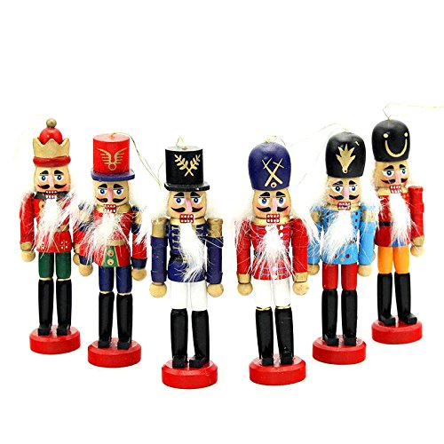 Fnaf Costumes Marionette (LEIZENG 6pcs 12cm Nutcracker Puppet Desktop Decoration Wood Christmas Drawing Walnuts Soldiers)