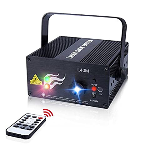 Laser Light 40 Patterns LED Projector DJ Gear Stage Lighting Red and Green Show With Blue Auto Sound active Professional Disco DJs Family Party Clubs and - Stage Lighting Package