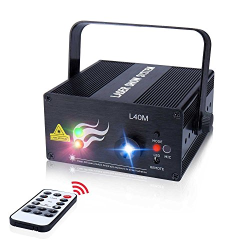 Laser Light 40 Patterns LED Projector DJ Gear Stage Lighting Red and Green Show With Blue Auto Sound active Professional Disco DJs Family Party Clubs and Wedding