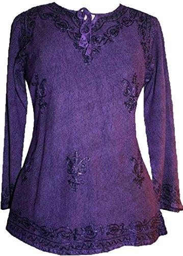 117 B Gypsy Medieval Renaissance Vintage Top Blouse (XL/1X, Purple)