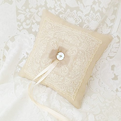 Wedding Ceremony Ring Bearer Pillow Linen and Antique Lace
