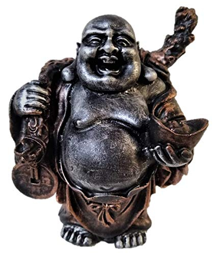 RK Collections Happy Buddha Statue | Laughing Buddha Figurine | Lucky Idol. Premium Quality Buddha Decor in Black and Copper Finish. ()