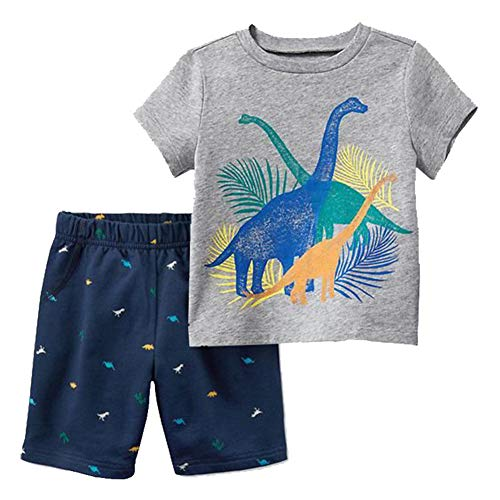 HILEELANG Little Kids Boy Cotton Short Sleeves Pajamas Sets 2 Piece Cartoon Dinosaur Shorts Pants Sleepwears Outfit