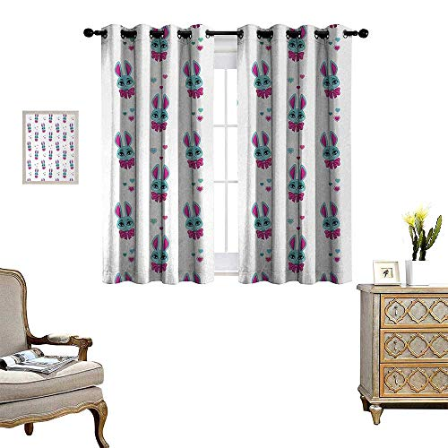 Anyangeight Teen Girls Window Curtain Drape Pattern of Cute Vivid Bunny Heads with Bowtie Funny Lovely Artwork Decorative Curtains for Living Room W63 x L45 Fuchsia and Turquoise (Bunny Hill Quilt Designs Pattern)