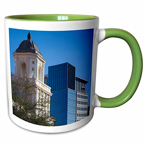 3dRose Danita Delimont - Buildings - USA, Florida, West Palm Beach, City Place Mall, Harriet Himmel Theater - 11oz Two-Tone Green Mug - City Mall Florida Outlet