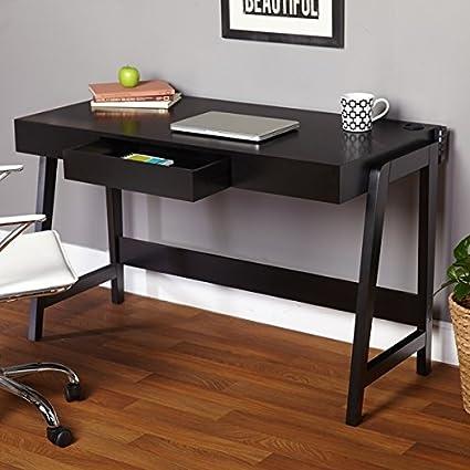 Negro moderno mesa de ordenador de esquina pequeño es un perfecto ...