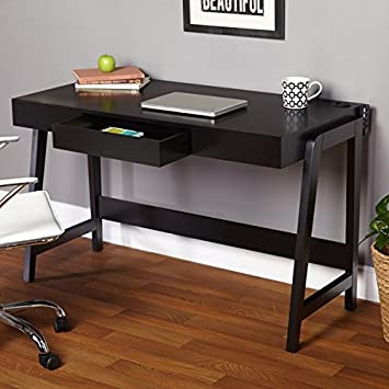 Our Small Writing Desk with Drawers Fits Into Tight Spaces Stylish Axess Small Desk Black Modern Small Corner Computer Desk Is a Perfect Writing Desks for Small Spaces