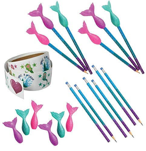 25 Piece Mermaid Glitter Stickers, Pencils & Toppers Bundle Pack For Kids ()