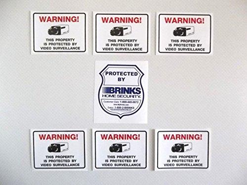 BADGE SHAPED BRINKS+6 VIDEO SURVEILLANCE WINDOW STICKERS