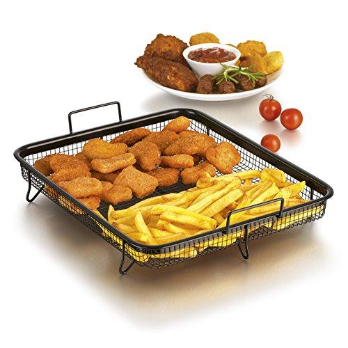 Grillkorb Heißluft für Backofen ( Edelstahl-Grillkorb für fettarmes Heißluft-Garen im Ofen (Eckig 33x28x5cm)