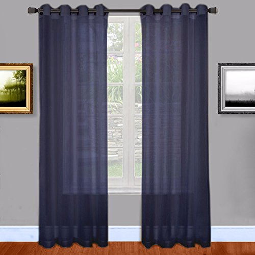 Warm Home Designs Navy Blue Sheer Window Curtains with Grommet Top for Bedroom, Kitchen, Kids Room or Living Room, 2 Voile Panel Drapes 54-Inch-by-84-Inch – Navy, 84″