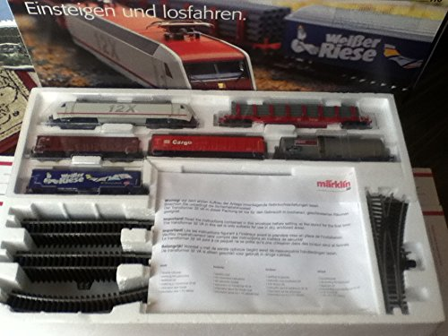 MARKLIN HO DELTA STARTER SET 29805 WITH ELECTRIC LOCOMOTIVE 12X CLASS 128 + 5 LONG FREIGHT CARS + OVAL WITH SWITCHES + TRANSFORMER WITH MANUALS AND CATALOG. - Marklin Electric Trains