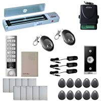 Visionis FPC-5652 One Door Access Control Outswinging Door 600lbs Maglock with VIS-3005 Outdoor Weatherproof Metal Touch Slim Keypad/Reader Standalone No Software 2000 Users with Wireless Receiver Kit