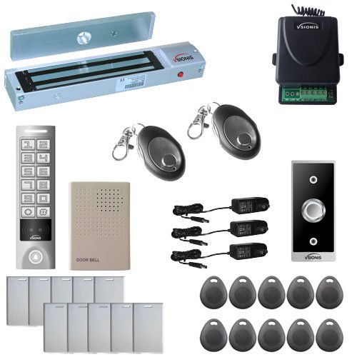 Visionis FPC-5652 One Door Access Control Outswinging Door 600lbs Maglock with VIS-3005 Outdoor Weatherproof Metal Touch Slim Keypad/Reader Standalone No Software 2000 Users with Wireless Receiver Kit ()
