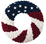 One Holiday Way Patriotic Red, White, Blue Silk Rose American Flag Door Wreath - 4th of July Decoration