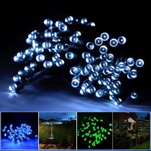lychee Solar powered string light 55ft 17m 100 LED Solar Fairy light string for Garden,Outdoor,Home,Christmas Party (17m 100Leds, White) ()