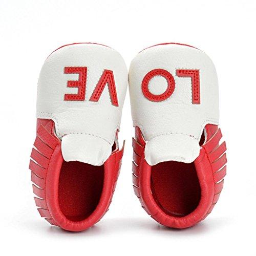 Hunpta Neugeborene Mädchen Jungen Krippe Schuhe Soft Sole Anti-Rutsch Baby Sneakers Quasten Schuhe Rot