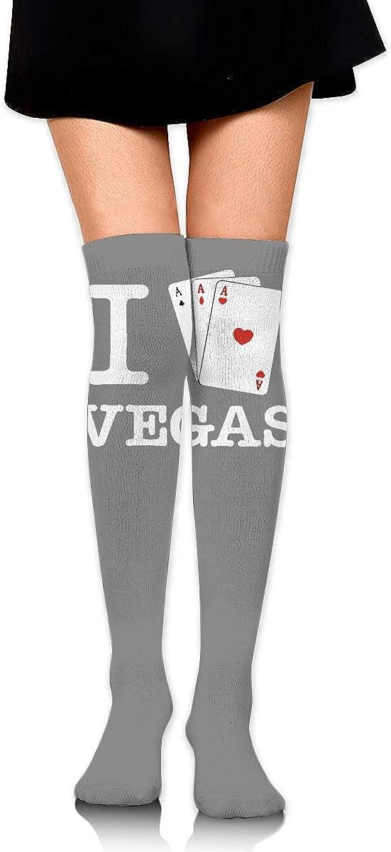 I Love Vegas Ace Hearts Womens Socks Girls Extra Long Leg Wamers Fancy Boot Stockings