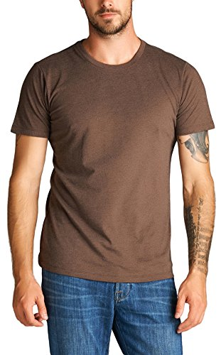 ToBeInStyle Men's Short Sleeve Crew Neck Marled T-Shirt - H Brown - Medium - Brown Mens Shirt