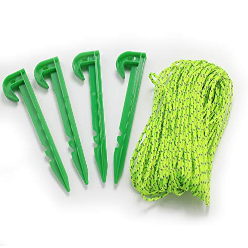 Wellmax 50 Feet 3mm Reflective Nylon Cord with 4PC 6 inch Tent Stakes, Neon Color for High Visibility