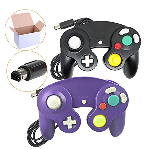 Poulep NGC Wired Controller for Wii Gamecube (Black and Purple)