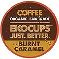 EKOCUPS Artisan Organic Burnt Caramel, Dark Roast Coffeein Recyclable Single Serve Cups for Keurig K-Cup Brewers, 20 Count