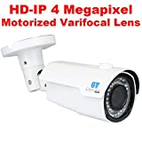 GW Security 4 Megapixel 2592 x 1520 Pixel 4X Optical Zoom Outdoor PoE 1520P Security IP Camera with 2.8-12mm Varifocal Motorized Zoom Len and 42Pcs IR LED up to 130FT IR Distance