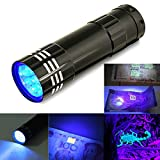 Sumanee 9 LED Mini Black Aluminum UV Ultra Violet Flashlight Blacklight Torch Light Lamp