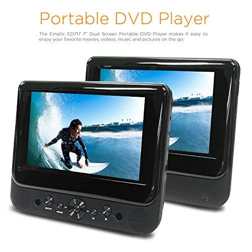 "EMATIC ED717 https://0f469d6f2fa468202d31-6b0d87410f7cc1525cc32b79408788c4.ssl.cf2.rackcdn.com/496/25964904_1.jpg ; Ematic Ematic 7"" Dual Screen DVD Player MPN: ED717 - Pricefalls.com"