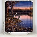 CHARMHOME Fashion Custom River Edge Deers Waterproof Fabric Bath Shower Curtain 66x72