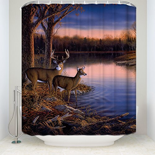 CHARMHOME River Edge Deers and Sunset Scenery Decoration Waterproof Fabric Bathroom Shower Curtain 72x84inch