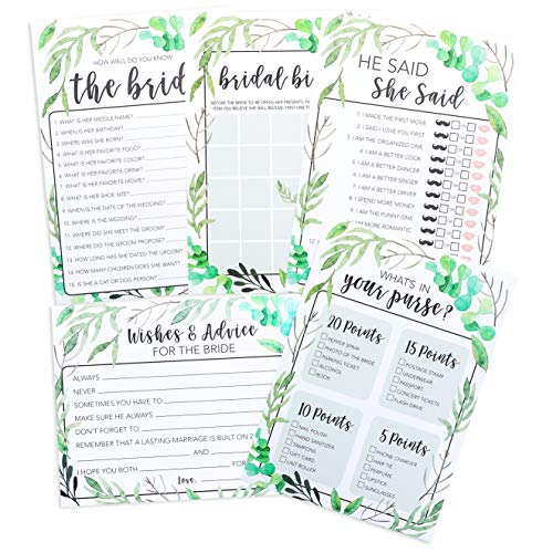 5-Pack Bridal Shower Games - Set of 5 Games, 50 Cards Each, Rustic Greenery Boho Bridal Party Games, Includes He Said She Said, Marriage Advice, Bingo, Engagement Wedding Party - Shower Tea Purse Favors Bridal