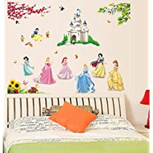 ufengke® Beautiful Princess Lovely Little Dwarfs and Cartoon Castle Wall Decals, Children's Room Nursery Removable Wall Stickers Murals