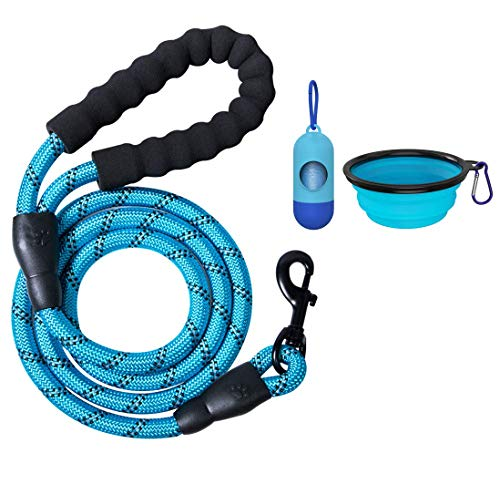 2 Packs 5 FT Strong Rope Dog Leash with Comfortable Padded Handle and Highly Reflective Threads for Small Medium Large…
