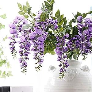 NszzJixo9 Artificial Silk Wisteria Fake Garden Hanging Flower Plant Vine Wedding Decor, Flowers Fake for Wedding Ceremony Arch Party Home Garden Deco (Purple) 4