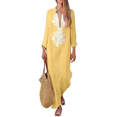 a937276a19 Vestido de algodón y Lino de Mujer Imprimir Manga Larga Escote en V Vestido  Largo Vestido Casual Vestido Suelto  Amazon.es  Ropa y accesorios