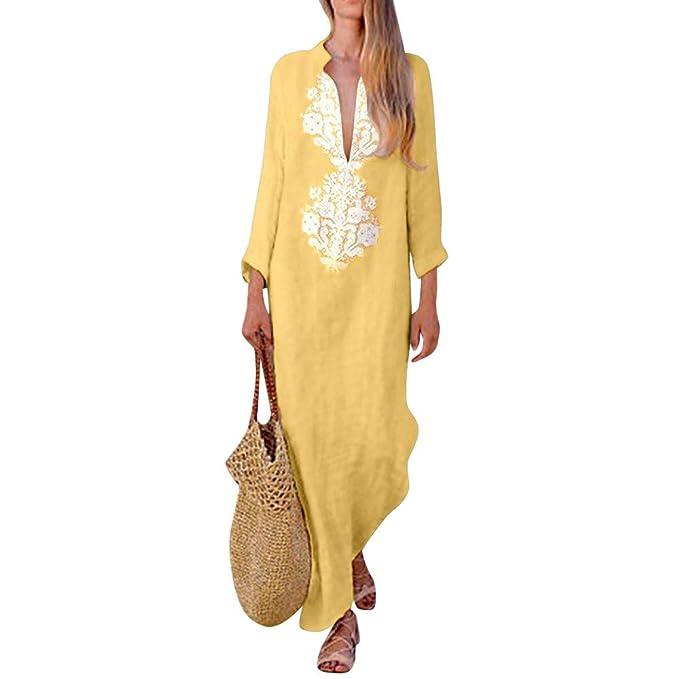 c4ffffbfab Winwintom-Vestidos Mujer Casual Vestido De Verano Largo Maxi Falda Mujer  Cuello En V Estampado De Manga Larga Fiesta Mujer Boho Playa Sundress