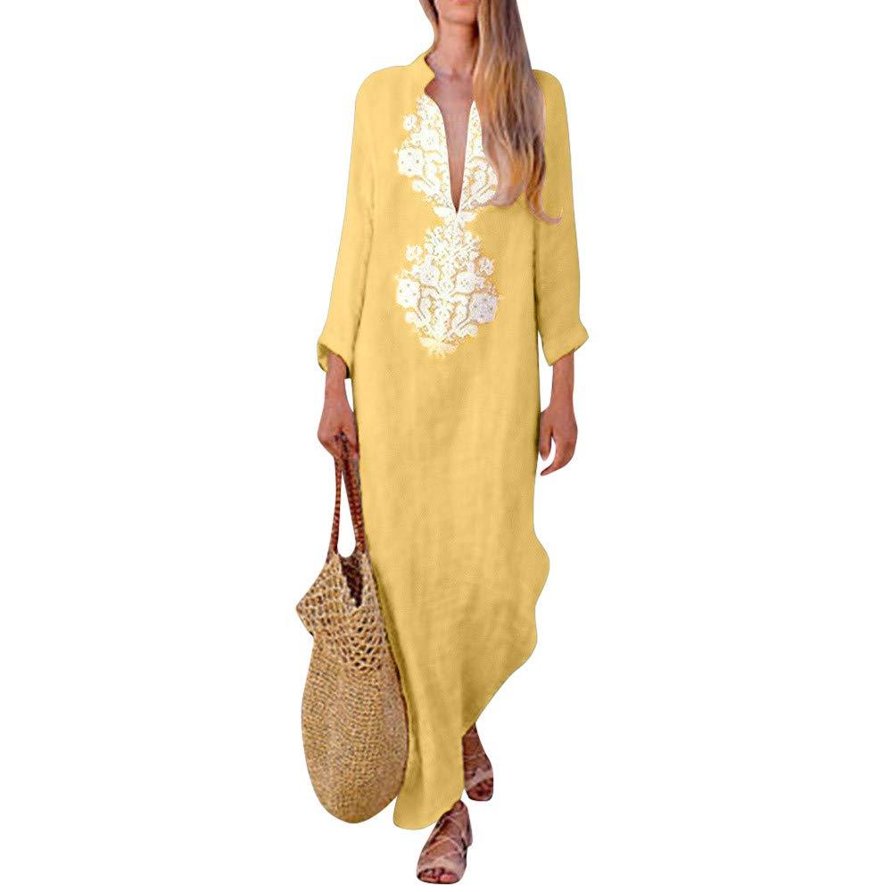 Ratoop Women's V Neck Long Sleeves Printed Line Maxi Long Dress Loose Stand Collar Elegant Dress (Yellow, L2)