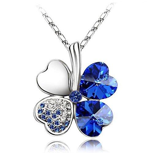 4eb4edc2182c9 Wakanoo Four Leaf Clover Heart Shaped Fashion Austrian Crystal ...