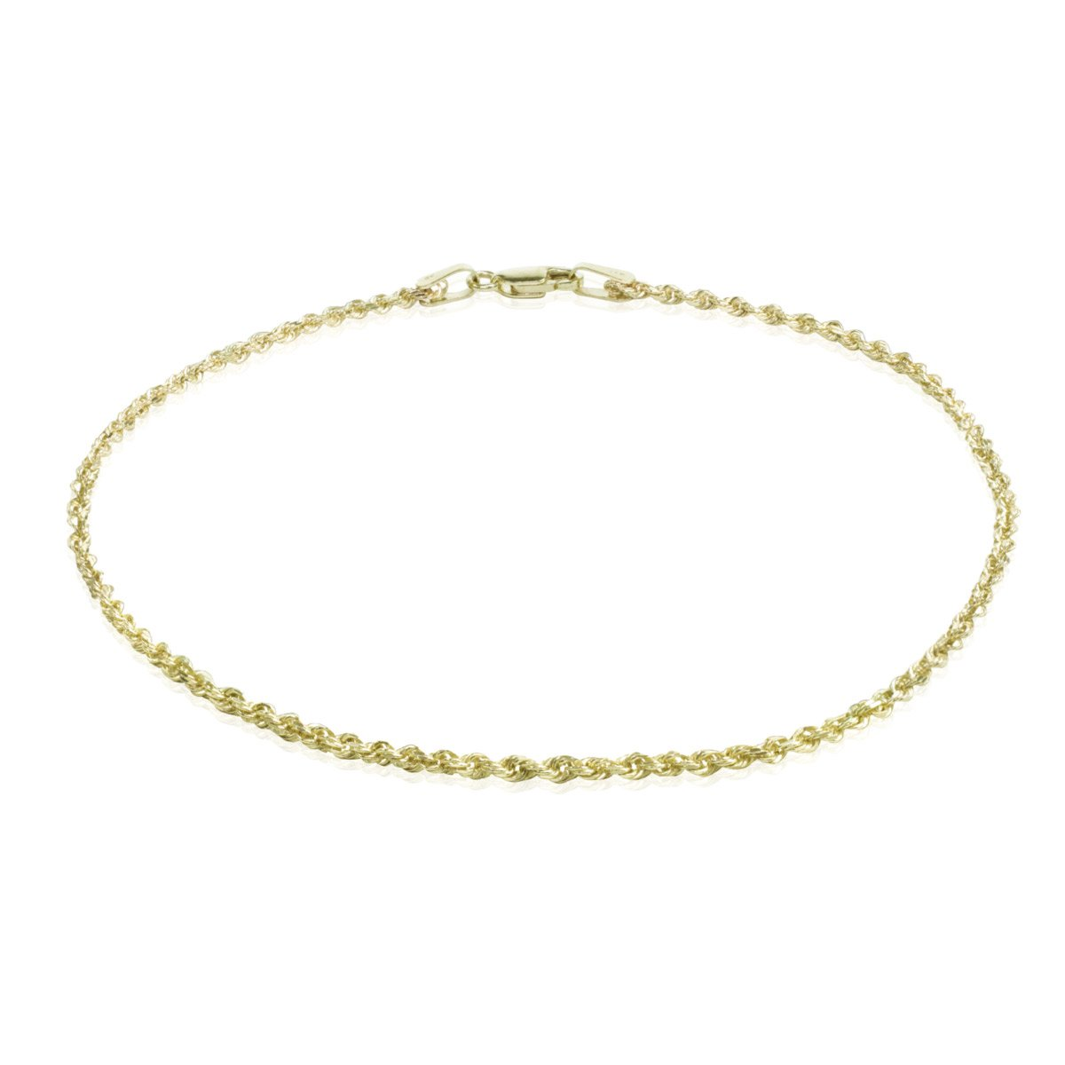14K Solid Yellow Gold 2mm Rope Chain Anklet (9 Inches)