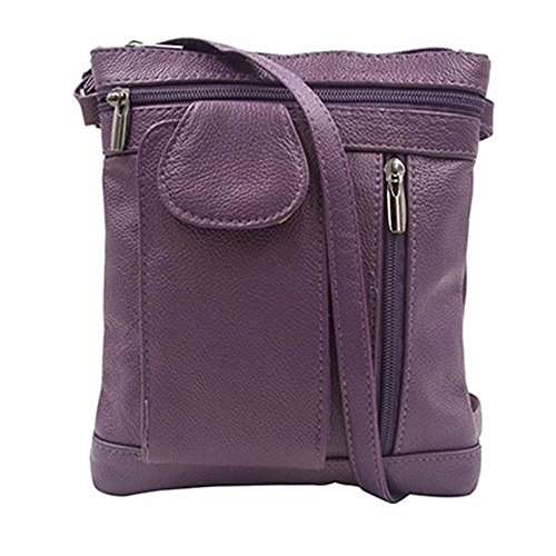 ''On-the-Go'' Soft Leather Crossbody Bag - 6 Styles (Purple) by Maze Exclusive