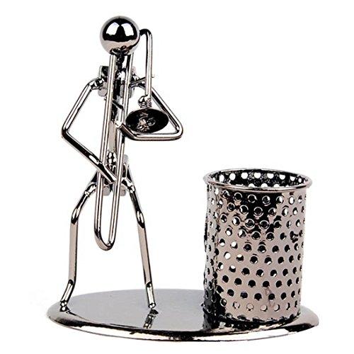 Pen Container Holder Pencil Cup Iron Art Music Figure~Home Office Desk Decor Gift (Trombone)
