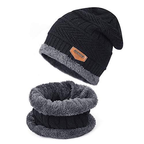 TAGVO Winter Beanie Mütze Schal Set, Fleece-Innenfutter Warm Stretchy Knit Beanie Cap Elastischer Halswärmer - Passgenau für Damen Damen Mädchen Jungen Erwachsene Kinder