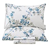Queen's House Garden Tree Blossom and Bird Pattern Print Bed Sheets Collection Set-King,C